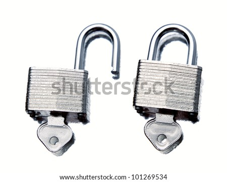 Padlocks on plain background - stock photo