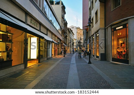 PADOVA, ITALY - OCTOBER 3: People goes by the shopping street in Padova city centre on October 3, 2012. Padova is a city and comune in the Veneto, northern Italy. - stock photo