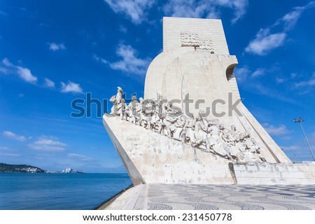 Padrao dos Descobrimentos (Monument to the Discoveries) is a monument on bank of the Tagus River in Lisbon, Portugal - stock photo