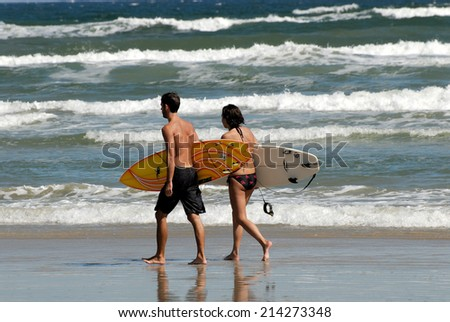 PADRE ISLAND, USA - OCT 18: Surfers on the beach of Padre Island. October 18, 2008 in Padre Island, Texas, USA