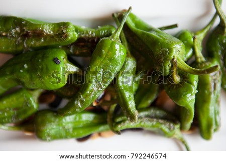 padron peppers on table in restaurant