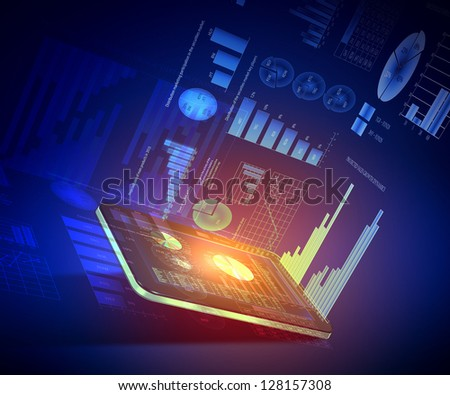 Pads with color diagrams and color shining on background - stock photo