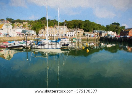 Padstow harbour North Cornwall coast England UK beautiful late summer sun and calm fine weather illustration