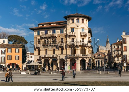 PADUA, ITALY - JANUARY 8: one of the historical buildings near Prato della Valle square  in Padua, Italy on January 8, 2017.