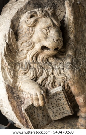 PADUA, ITALY - MAY 3, 2016: Venetian Lion with open book in Civic Museum of the Hermits.  Padua, Italy