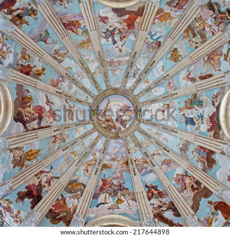 """PADUA, ITALY - SEPTEMBER 10, 2014: The cupola in the church Chiesa di San Gaetano with the frescos """"The Order of Heaven"""" by Guy Louis II Vernansal from year 1729. - stock photo"""