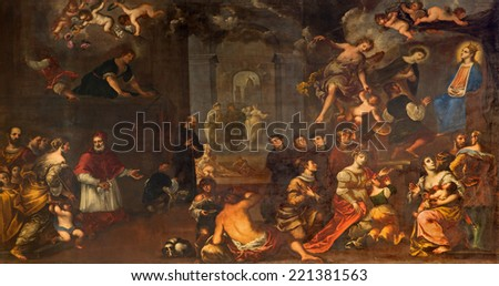 PADUA, ITALY - SEPTEMBER 9, 2014: The depiction of the miraculously vision of Annunciation by  by Matteo Ghidoni (1626 - 1689) in church Santa Maria dei Servi.