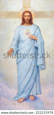 PADUA, ITALY - SEPTEMBER 8, 2014: The heart of Jesus Christ paint in Cathedral of Santa Maria Assunta (Duomo) by R. Mulata from.  - stock photo