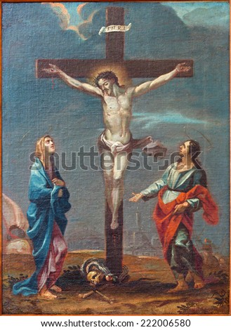 PADUA, ITALY - SEPTEMBER 9, 2014: The painting of Crucifixion scene  in the church Cathedral of Santa Maria Assunta (Duomo) from 18. cent.by unknown painter  as part of Way of the Cross. - stock photo