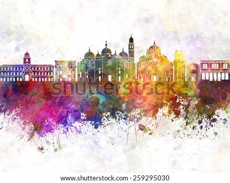 Padua skyline in watercolor background - stock photo