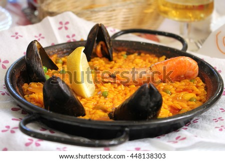 Paella with seafood and rice traditional Spanish food