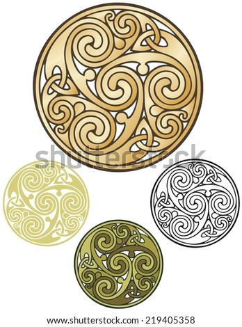 Pagan design, triskeleon in cold like a coin. - stock photo