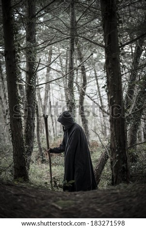 Pagan druid in the forest