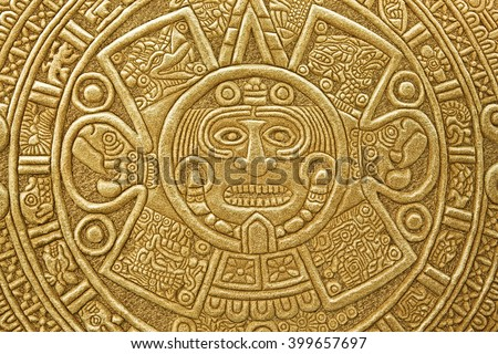 Pagan ornament of a tribe Maya. stone texture