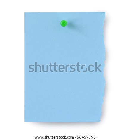page and pushpin isolated on white