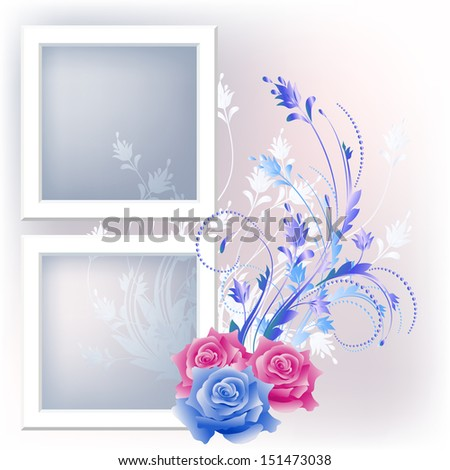 Page layout photo album with flowers. Raster version. - stock photo