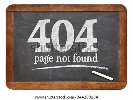 Page not found 404 error - white chalk text on a vintage slate blackboard - stock photo