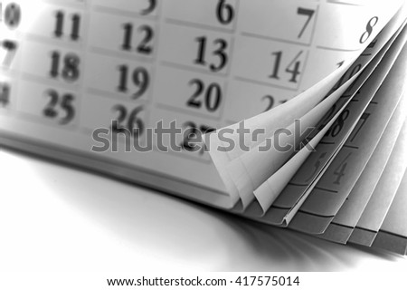 page of calendar. Old style, black - white photo.  - stock photo