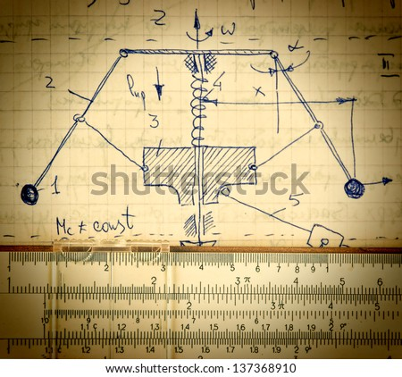 Page of old paper with the calculation of the theoretical mechanics and slide rule - stock photo