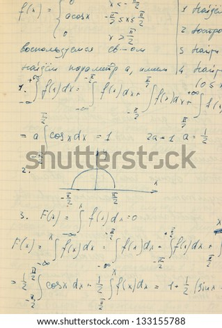 Page of old textured vintage paper with the calculation of the higher mathematics