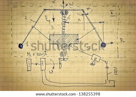 Page of old textured vintage paper with the calculation of the theoretical mechanics - stock photo