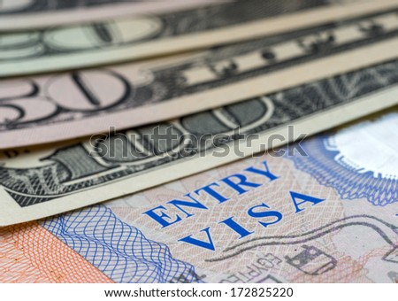 Page of passport with visa and money dollars - stock photo
