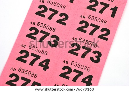 Page of raffle tickets - stock photo