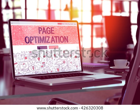 Page Optimization Concept Closeup on Landing Page of Laptop Screen in Modern Office Workplace. Toned Image with Selective Focus. 3D Render. - stock photo