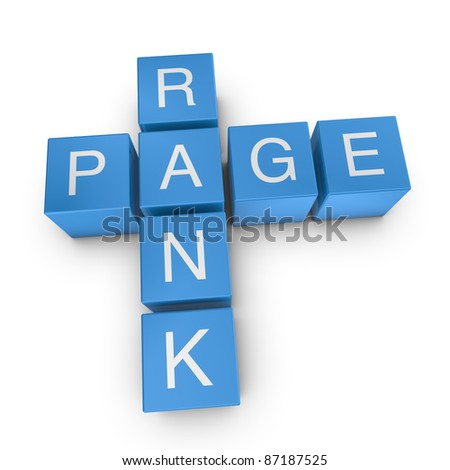 Page rank crossword on white background, 3D rendered illustration