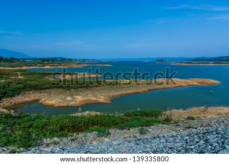 Page views of the river earthen dam.Thailand