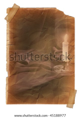Page with vintage effect, pasted by a sticky tape on a white background. Candle