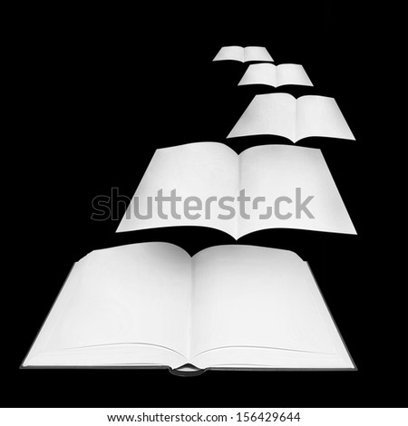Pages and glowing letters flying out of a book - stock photo