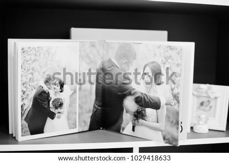 pages elegant photobook wedding album on stock photo edit now