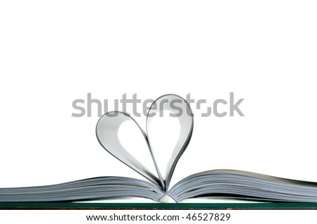 Pages of magazine in the form of heart on a white background - stock photo