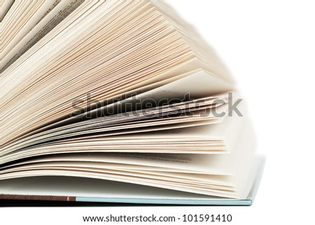 Pages of open book isolated over white background