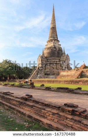Pagoda and Old Temple in Ayutthaya, Thailand