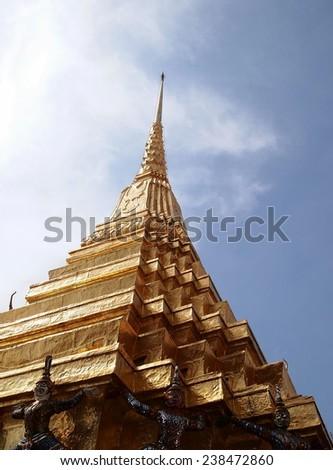 Pagoda at Emerald Buddha Temple Grand Palace Bangkok - stock photo