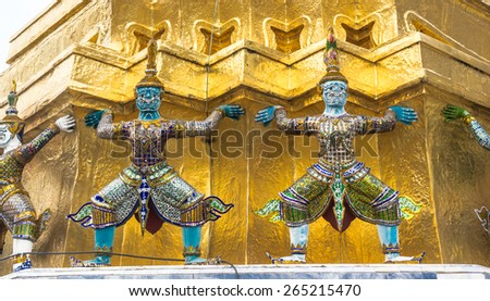 Pagoda at the Emerald Buddha temple, Bangkok, Thailand