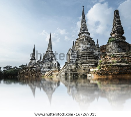 Pagoda at wat phra sri sanphet temple with water reflection, Ayutthaya, Thailand