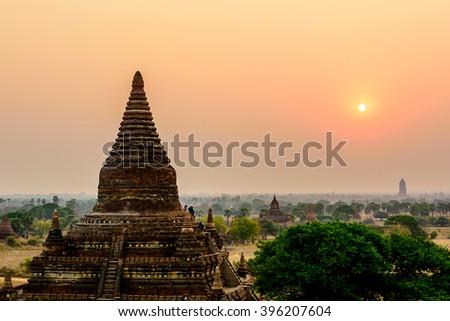 Pagoda field at sunrise time. Bagan, Myanmar. - stock photo