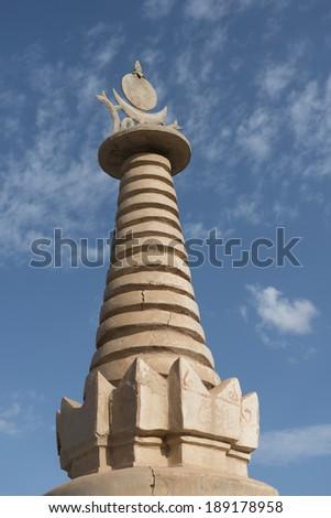 Pagoda for Buddhist relic, Mogao Caves, Dunhuang, Jiuquan, Gansu Province, China - stock photo