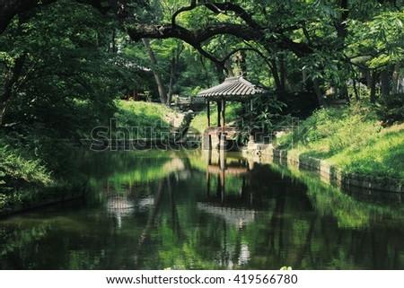 Pagoda in Changdeokgung Palace, Seoul, South Korea - stock photo