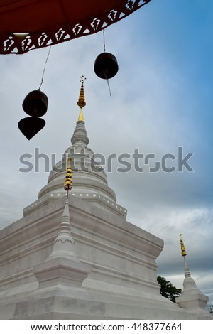 Pagoda in temple,  Nan, northern of Thailand, cloudy  - stock photo
