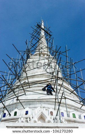 Pagoda in temple under Construction Thai architecture stlye
