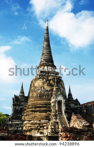 Pagoda in the temple of Ayuthaya, Thailand