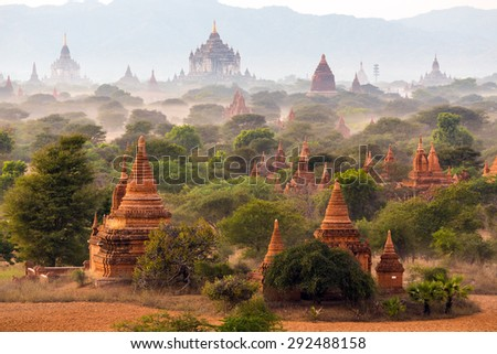 Pagoda landscape in the plain of Bagan, Myanmar (Burma) - stock photo