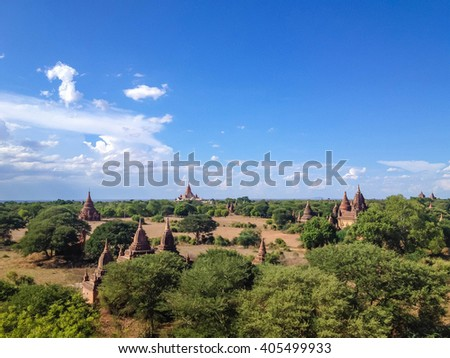 Pagoda landscape in the plain of Bagan, Myanmar (Burma)