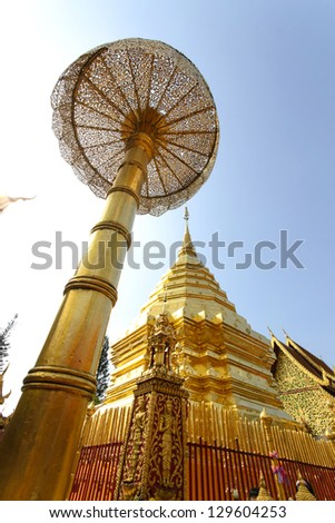 Pagoda of Doisuthep temple in Chiang Mai ,Thailand