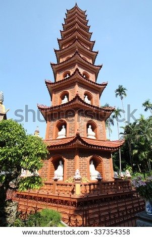 Pagoda of Tr?n Qu?c Temple, the oldest Buddhist temple in Hanoi, Vietnam - stock photo
