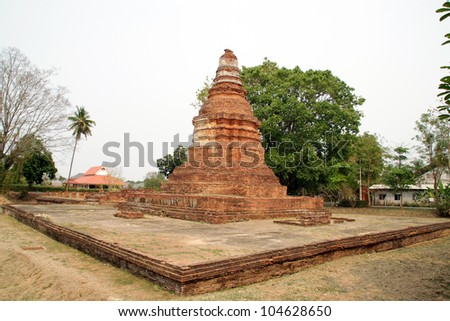 Pagoda of Wat E-Kang, Wiang Kum Kam, The ancient city located in Chiang Mai, Thailand. The old city was built by King Mangrai around the latter part of the 13th century. - stock photo
